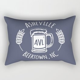 Asheville Beer - AVL 3 White on Bluegrey Rectangular Pillow