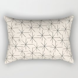 Stella - Atomic Age Mid Century Modern Starburst Pattern in Charcoal Gray and Almond Cream Rectangular Pillow