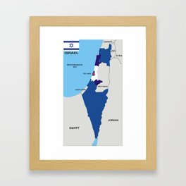 political map of Israel country with flag Framed Art Print