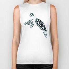 Calligram Sea Turtle Biker Tank