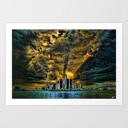 Sunset over Detroit Art Print