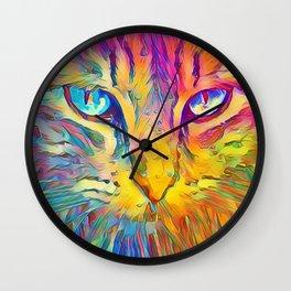 Neon Rainbow Cat Wall Clock