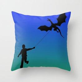 Magical Dragon Dragon (blue green) Throw Pillow