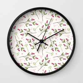 Cute Pink Delicate Flowers Pattern Wall Clock