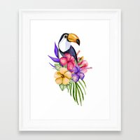 toucan Framed Art Prints featuring Toucan by Julia Badeeva