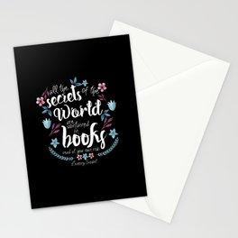 Book Secrets (Black) (Lemony Snicket Quote) Stationery Cards