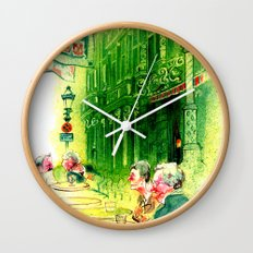 Cafe in Bruges Wall Clock