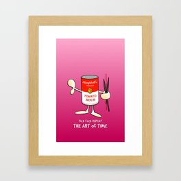 Tomato Soup Clock (pink) Framed Art Print