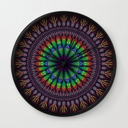 Colorful fantasy flower and petals mandala Wall Clock