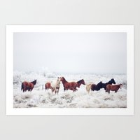 large Art Prints featuring Winter Horseland by Kevin Russ