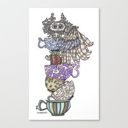 Owlice Wants Another Cup of Tea Canvas Print