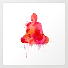 Red Buddha Watercolor art Art Print