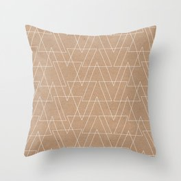 White abstract geometric triangles pattern on brown kraft Throw Pillow