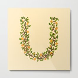 Leafy Letter U Metal Print
