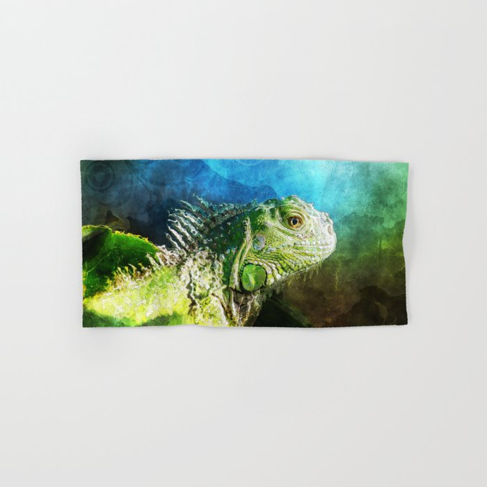 Blue And Green Iguana Profile Hand & Bath Towel
