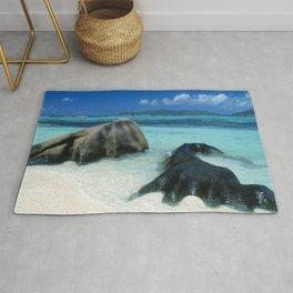 Seychelles Tropical Island Paradise White Sand Beach Rug