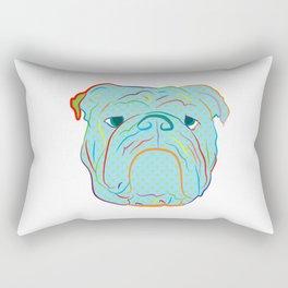 Bulldog Face Blue Pop Art Rectangular Pillow