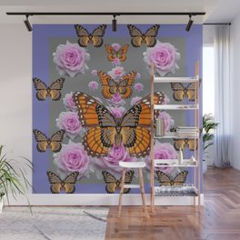 GREY MONARCH BUTTERFLIES PINK ROSES ON GREY ART Wall Mural
