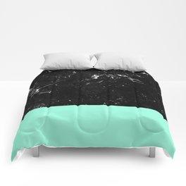 Mint Meets Black Marble #1 #decor #art #society6 Comforters