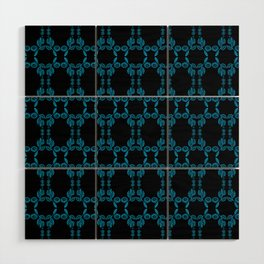 Hand drawn Seed Pods Bright Blue on Black Wood Wall Art