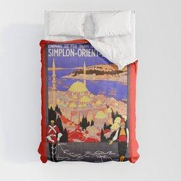 Vintage Simplon Orient Express London Constantinople Comforters
