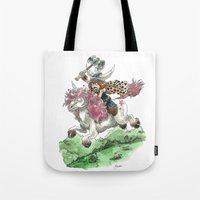 bouletcorp Tote Bags featuring Barbarian Unicorn by Bouletcorp