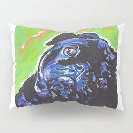 Black Pug Dog Portrait bright colorful Pop Art Painting by LEA Pillow Sham