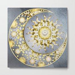 Golden Moon and Sun Metal Print