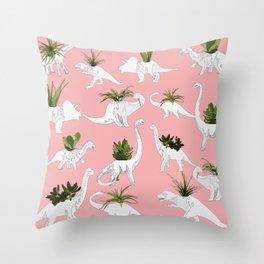 Dinosaurs & Succulents Throw Pillow