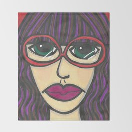 Girl with Glasses Throw Blanket