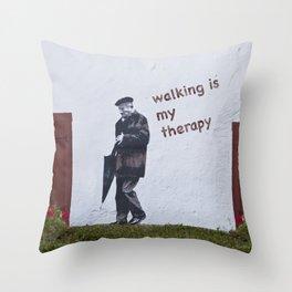 A Gentleman goes walking; Camino to Santiago de Compostela Throw Pillow