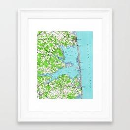 Vintage Rehoboth & Bethany Beach DE Map (1938) Framed Art Print