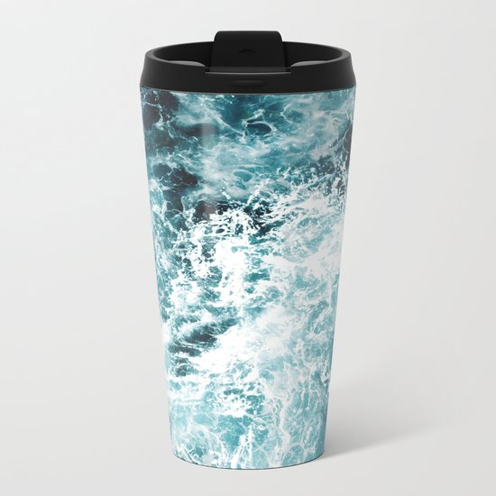 Sea Waves Metal Travel Mug