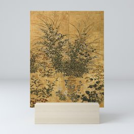 Vintage Japanese Floral Gold Leaf Screen With Morning Glory Mini Art Print