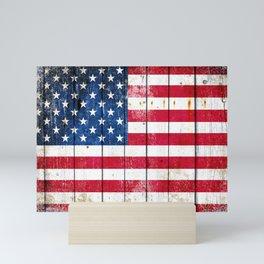 Distressed American Flag On Wood Planks - Horizontal Mini Art Print