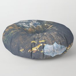 Lake with Trees and Mountain Floor Pillow