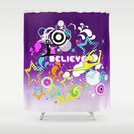 Believe, Gymnastic, sport, fun illustration Shower Curtain