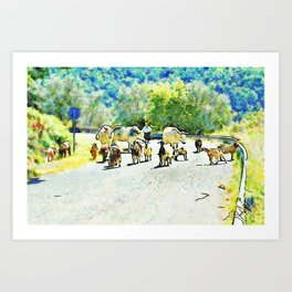 Shepherd with cows and goats on the road Art Print