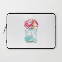 Perfume, watercolor, perfume bottle, with flowers, Teal, Silver, peonies, Fashion illustration Laptop Sleeve