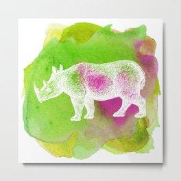 Color Spot Safari Rhinoceros Metal Print