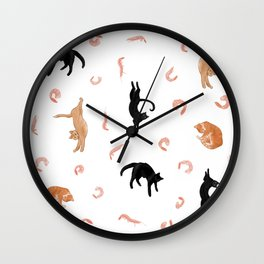 Cats and Shrimp floating in white space Wall Clock