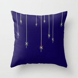 Star Lights Navy Throw Pillow