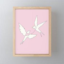 Two Swallows Line Art Framed Mini Art Print