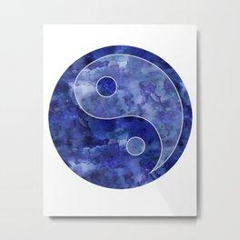 Blue Yin & Yang Mandala Metal Print