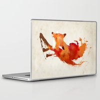 drawing Laptop & iPad Skins featuring Vulpes vulpes by Robert Farkas
