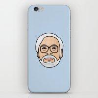 hayao miyazaki iPhone & iPod Skins featuring Hayao Miyazaki Portrait - Blue by Cedric S Touati