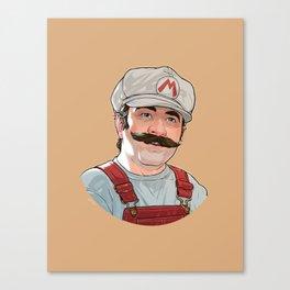 Depixelated Fire Mario Canvas Print