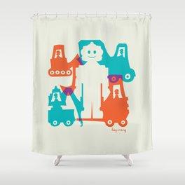 Friendlier Robots Shower Curtain