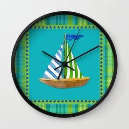 Nautical Sailboat Beach Blue Star Little Boy Plaid  Wall Clock