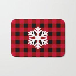 Red Buffalo Check - snowflake Bath Mat